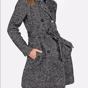 Express Herringbone Tweed Belted Wool Trench XS